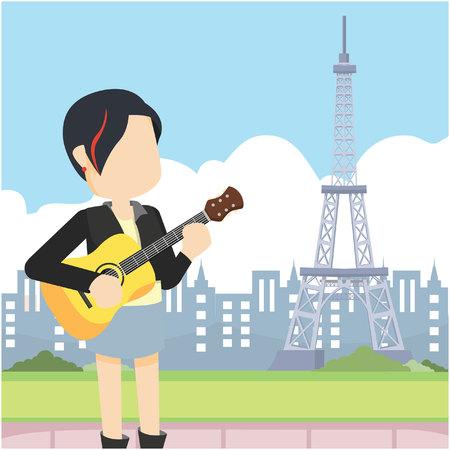rocker girl holding guitar infront eiffel tower