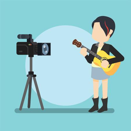 rocker girl: chica del eje de balancín de la guitarra con la cámara que sostiene