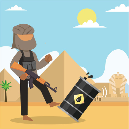 terrorist kick oil drum egypt Illustration