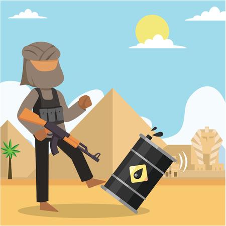 oil drum: terrorist kick oil drum egypt Illustration