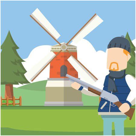 guy holding gun in holland Illustration