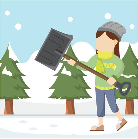 shoveling: girl shoveling snowdrift