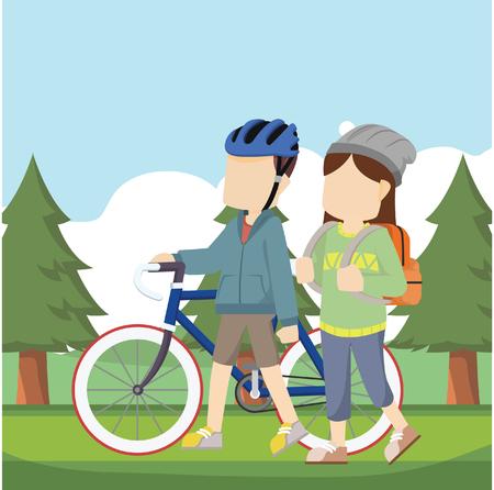 mujer deportista: chica que viaja en el bosque con el ciclista Vectores