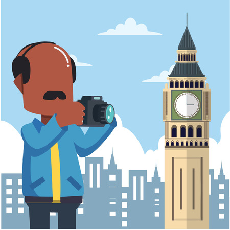 guy holding camera tour infront big ben england Illustration