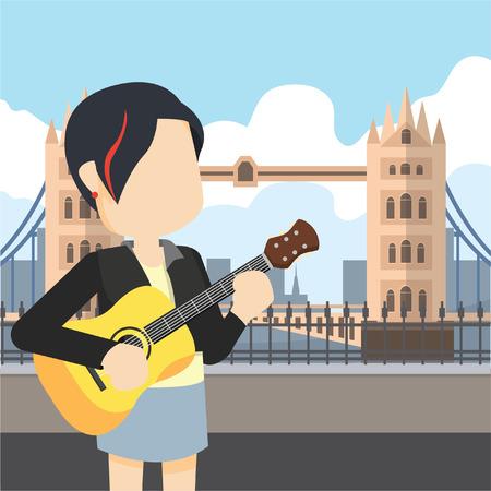 rocker girl: chica del eje de balancín que sostiene la guitarra recorrido puente de Londres Vectores