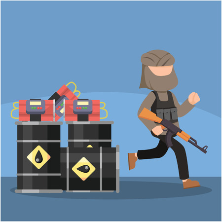 putting: terrorist putting bomb in gas tank Illustration