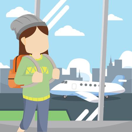 rolling bag: girl travel airport
