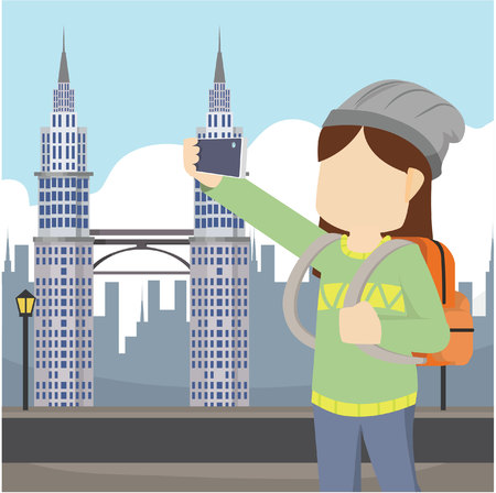 girl selfie in front petronas malaysia Illustration