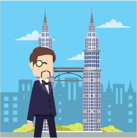 rich man walking infront of petrona tower Illustration