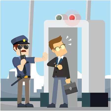 scanner: businessman not pass through scanner