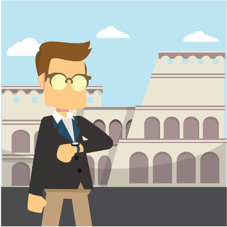 colosseum: businessman colosseum italy colorful Illustration