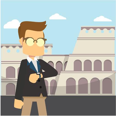 businessman colosseum italy colorful Stock Illustratie