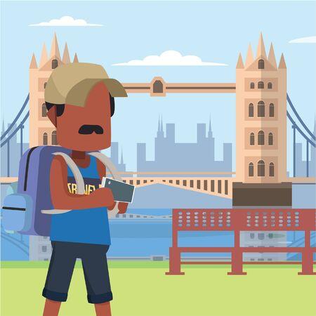 guy traveller in tower bridge london