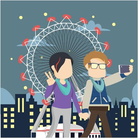couple take a selfie in theme park Illustration