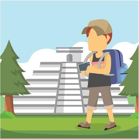 kukulkan: guy traveller in front chichen itza Illustration