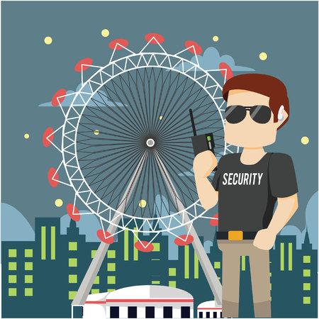 theme park: theme park security patrolling colorful