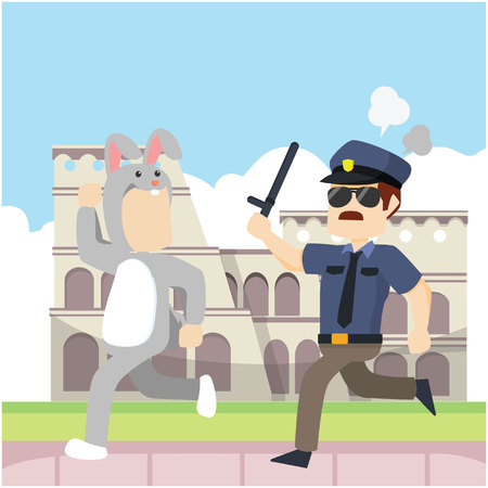 bunny guy being chased infront of colloseum Stock Illustratie