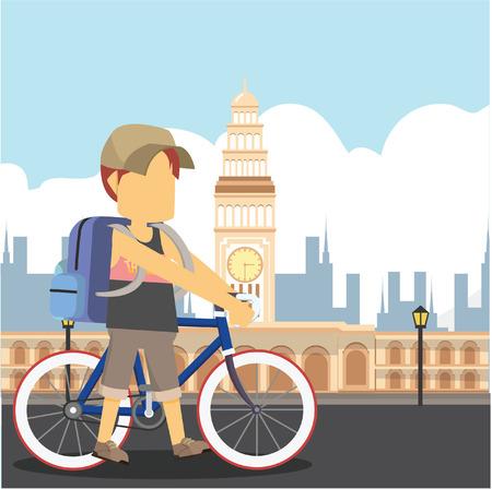 guy traveller with a bike san fransisco