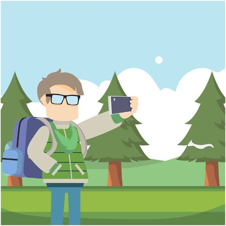 yourself: traveller taking selfie in forest