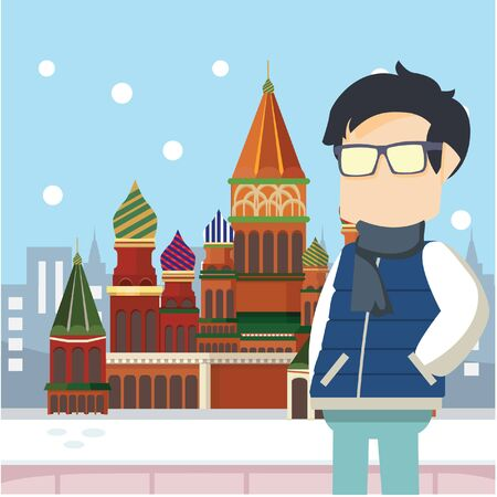 nerd tour moscow russia Illustration