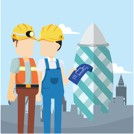 construction worker talking with the planner Illustration