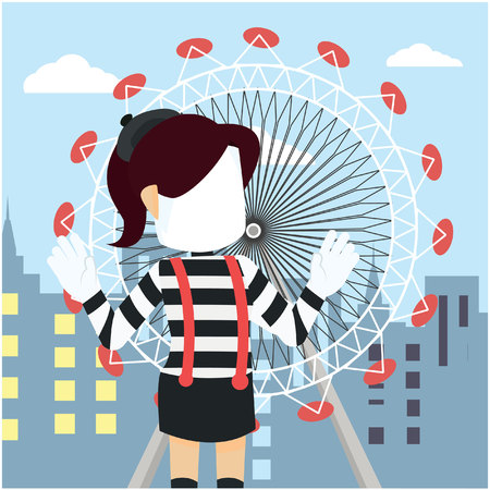 pantomime woman in front ferris wheel