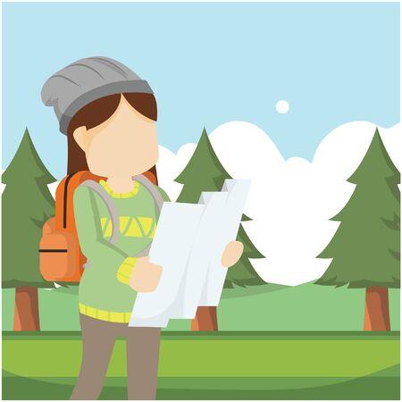traveller girl using map in forest