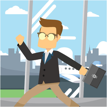 hurried: businessman hurried in airport lobby