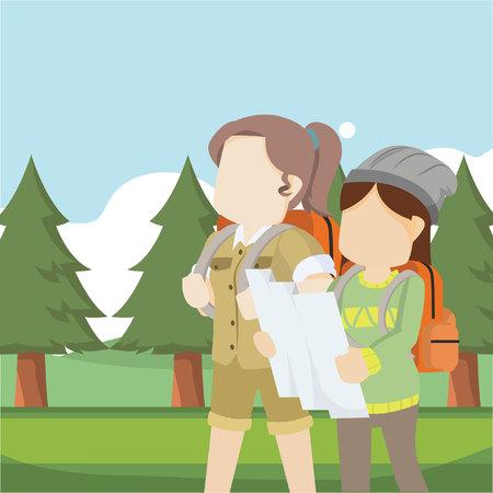 female explorer and traveller in forest Illustration