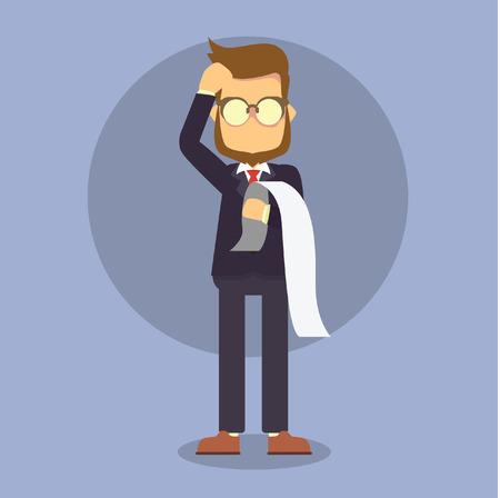 businessman holding paper feeling headache