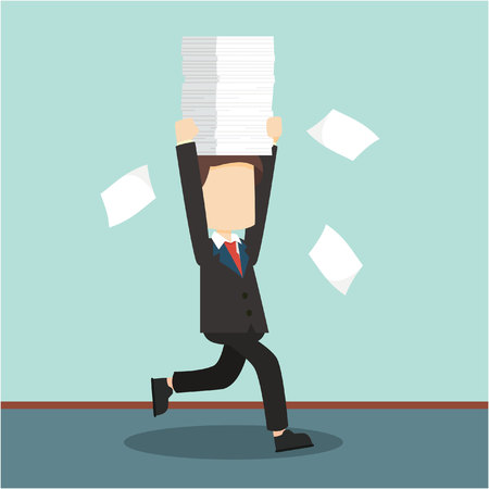 pile of documents: businessman run holding a lot documents Illustration