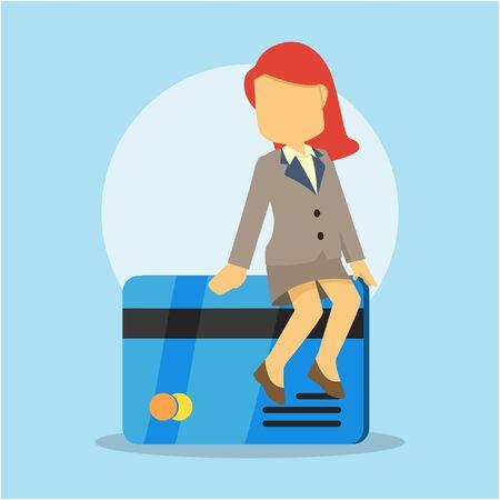 businesswoman sitting on credit card