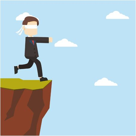 cliff edge: businessman running to cliff with close eye