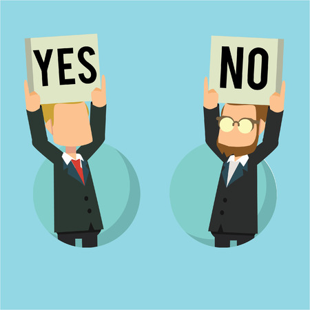 yes no: business man yes or no Illustration
