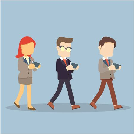 woman on phone: businessman and woman walking with phone