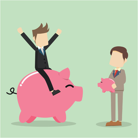 tiny: businessman with giant piggy bank and tiny piggy bank Illustration