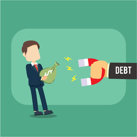businessman debt magnet attracts money