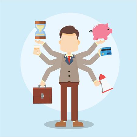 workaholic: businessman multitasking skills Illustration