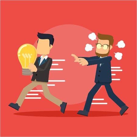 businessman running catching idea stealer Illustration