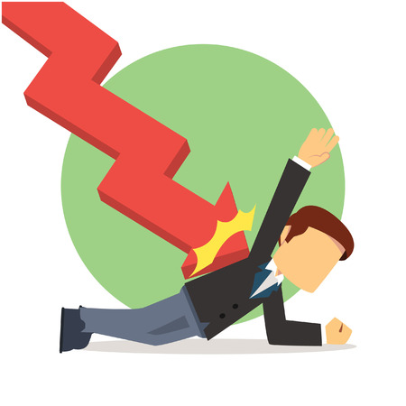 falling man: businessman striked by down graphic