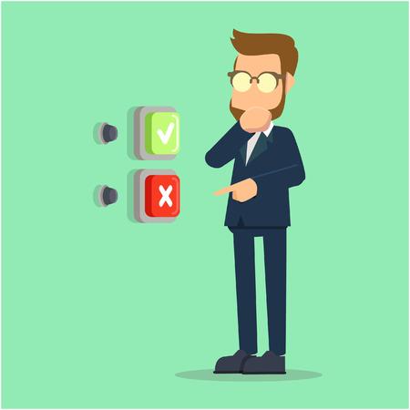 businessman confused when choosing
