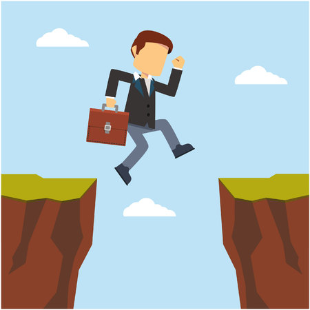 businessman jumping to cliff