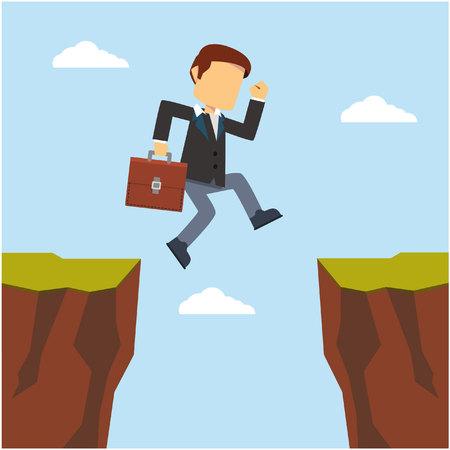 zakenman springen om cliff Vector Illustratie