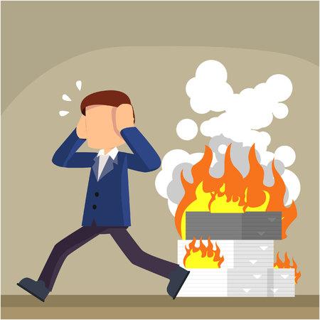 burned: businessman with burned office task