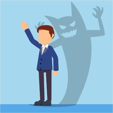 businessman with devil foreshadow Illustration