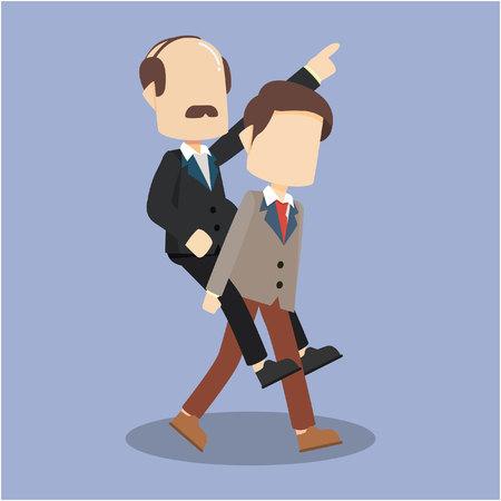 employee piggybacking a boss