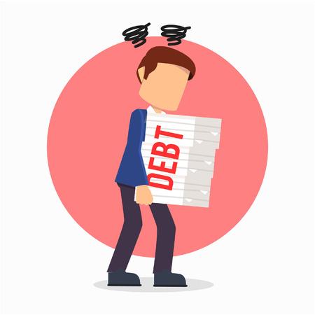 overload: businessman debt overloaded