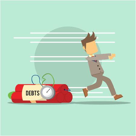 business man running from debts Illustration