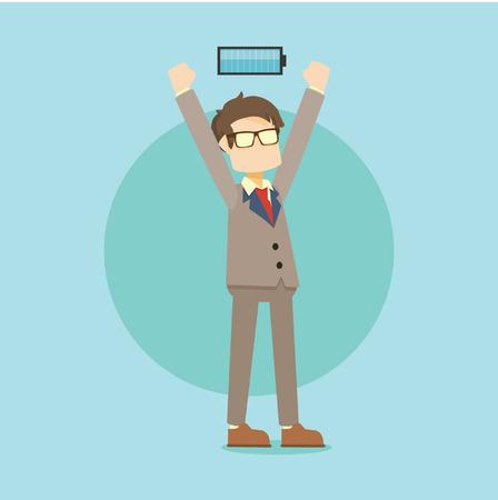 business man full energy Illustration
