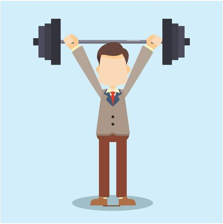 lifting: business man lifting dumbbell